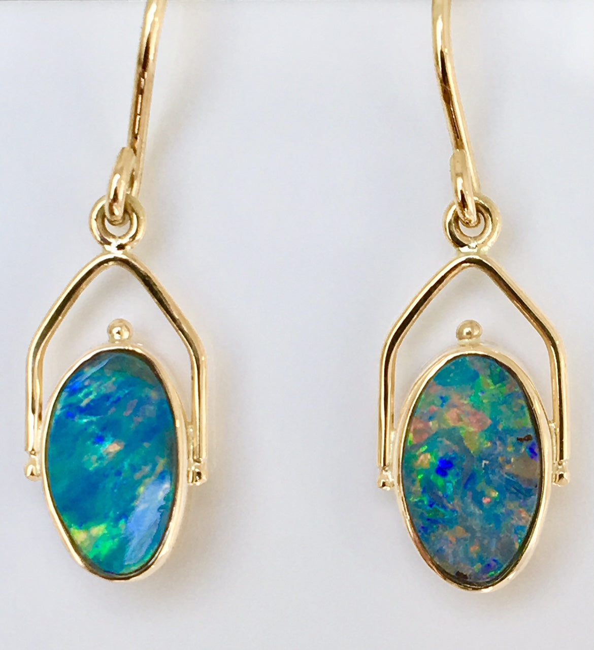 Multi Coloured solid boulder opal drop earrings