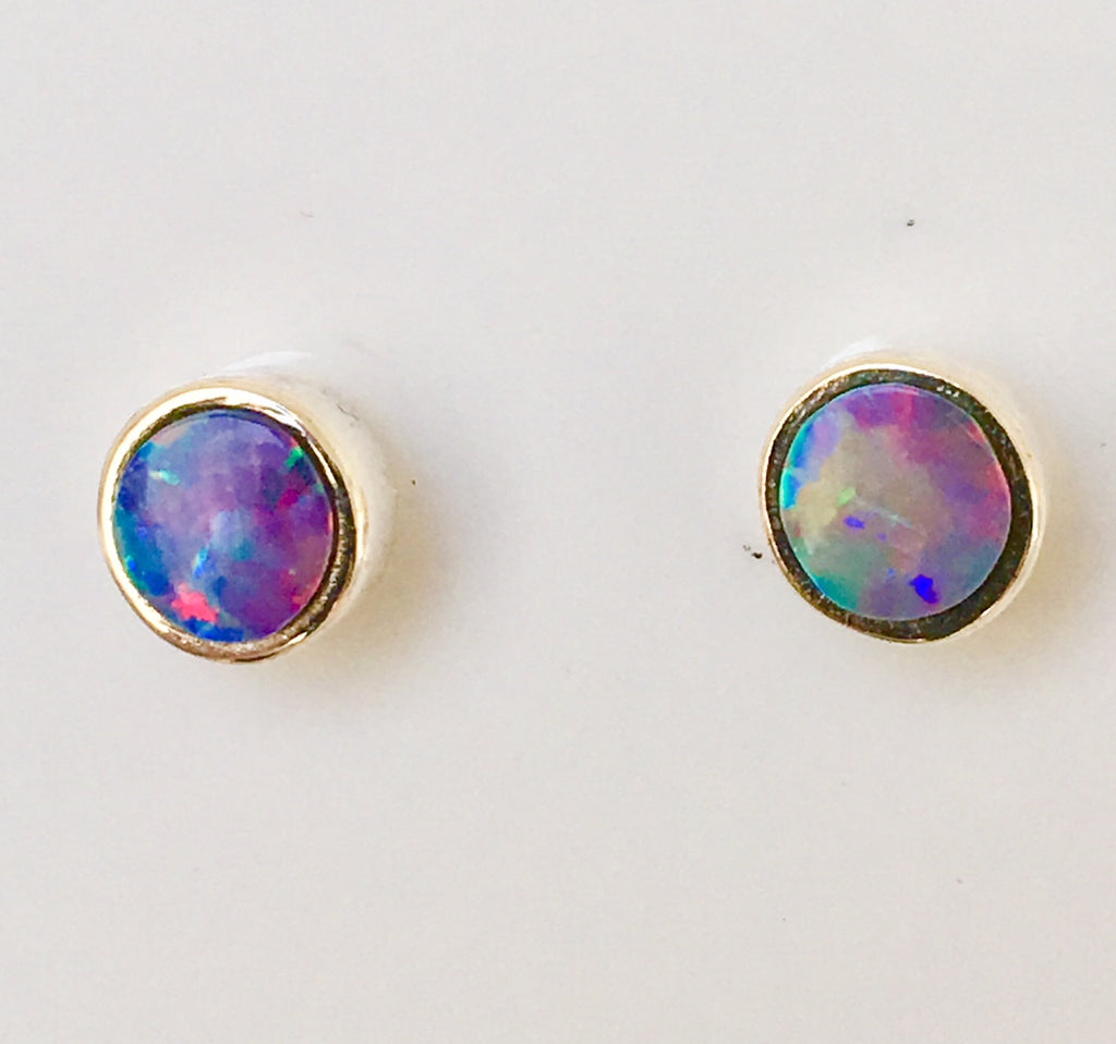 Pink multi coloured pastel stud earrings