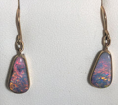 Pink multi coloured solid boulder opal drop earrings