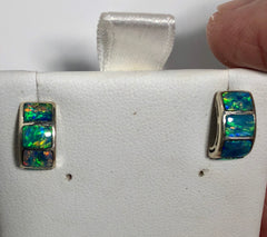Bright crystal opal inlay stud earrings