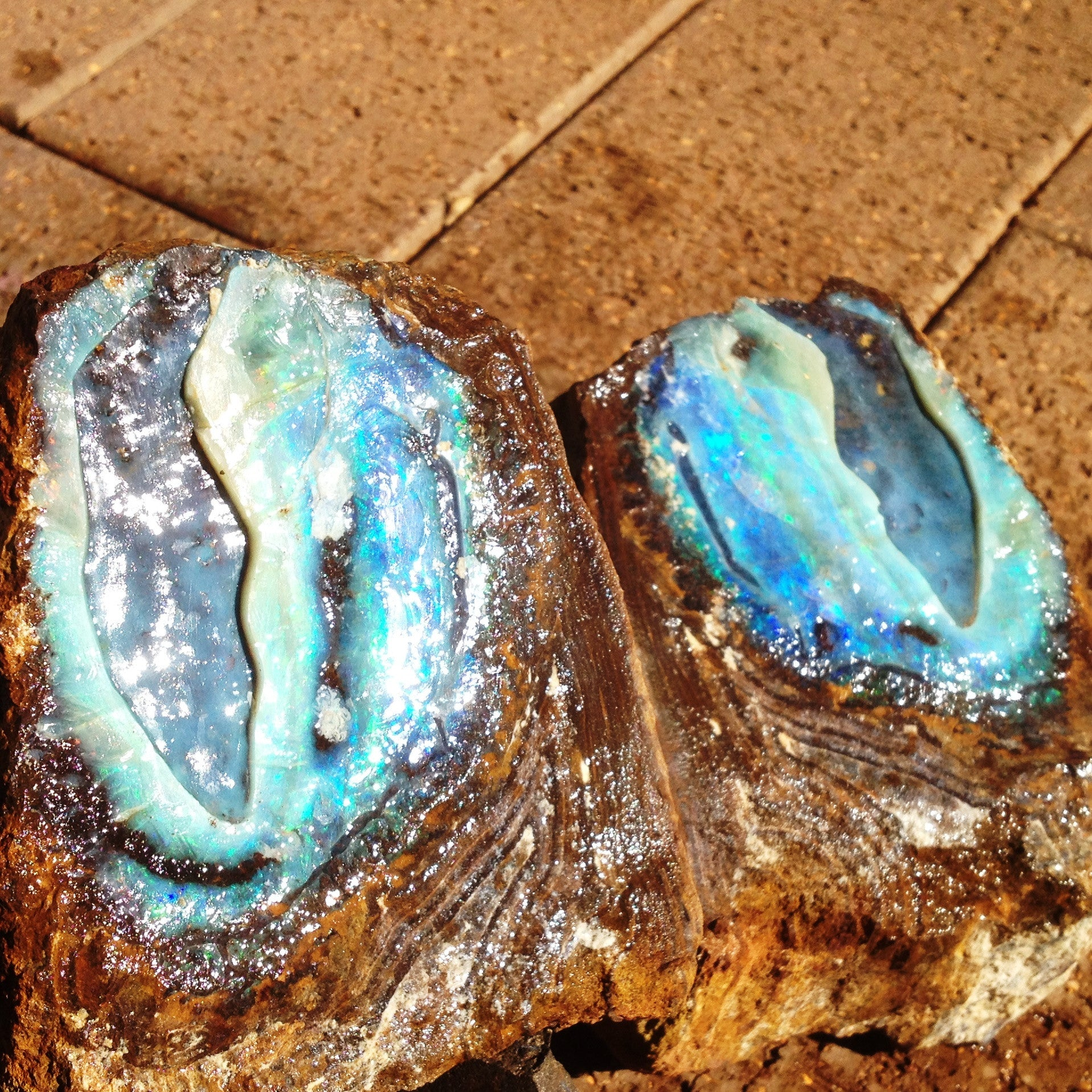 Natural split pair of green and blue boulder opal