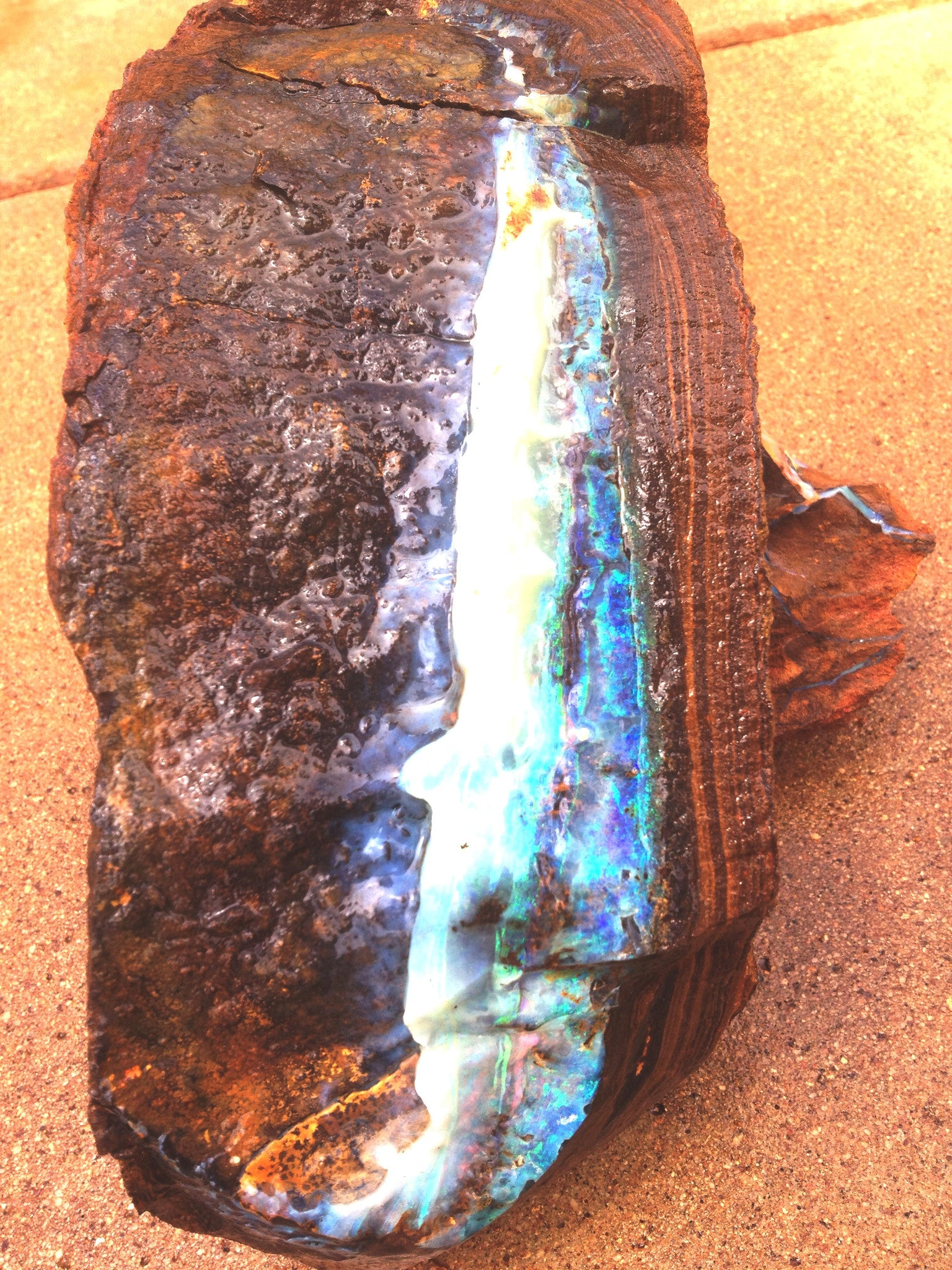 Large blue and green rough boulder opal