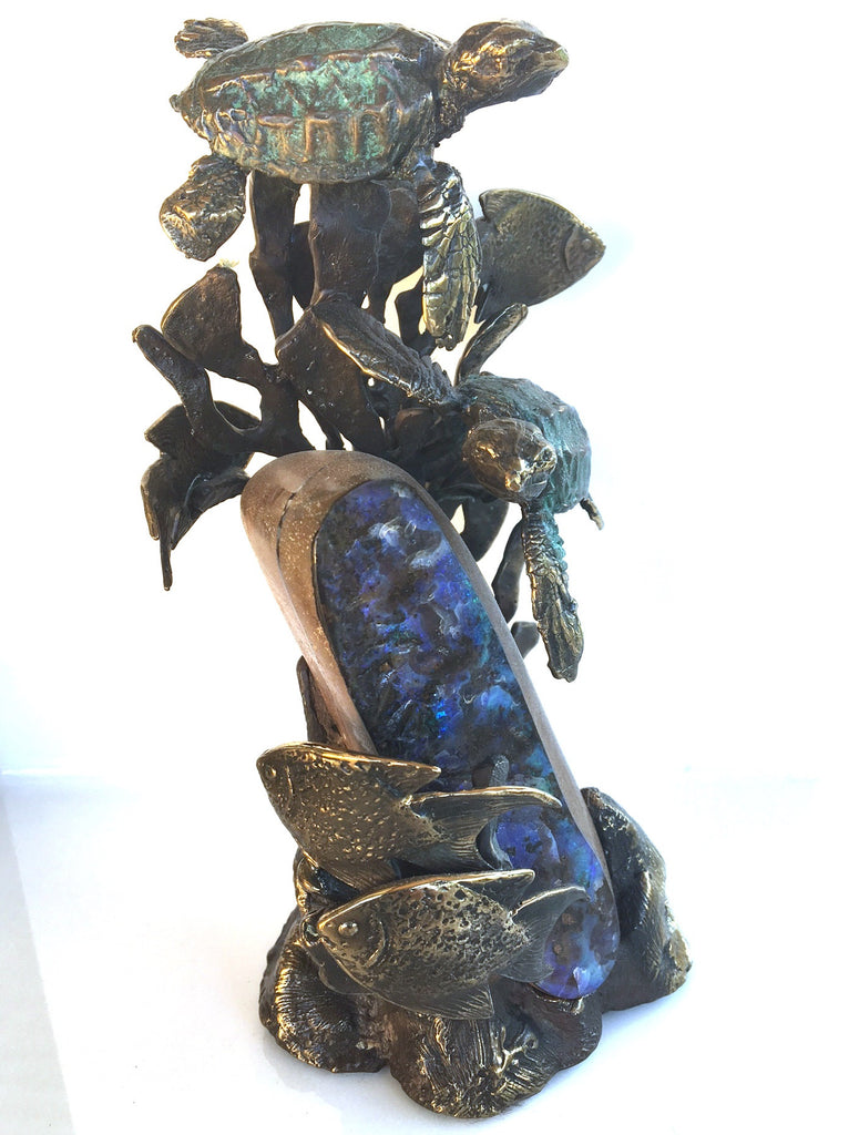 Blue Boulder Opal with Bronze Turtles and Fish