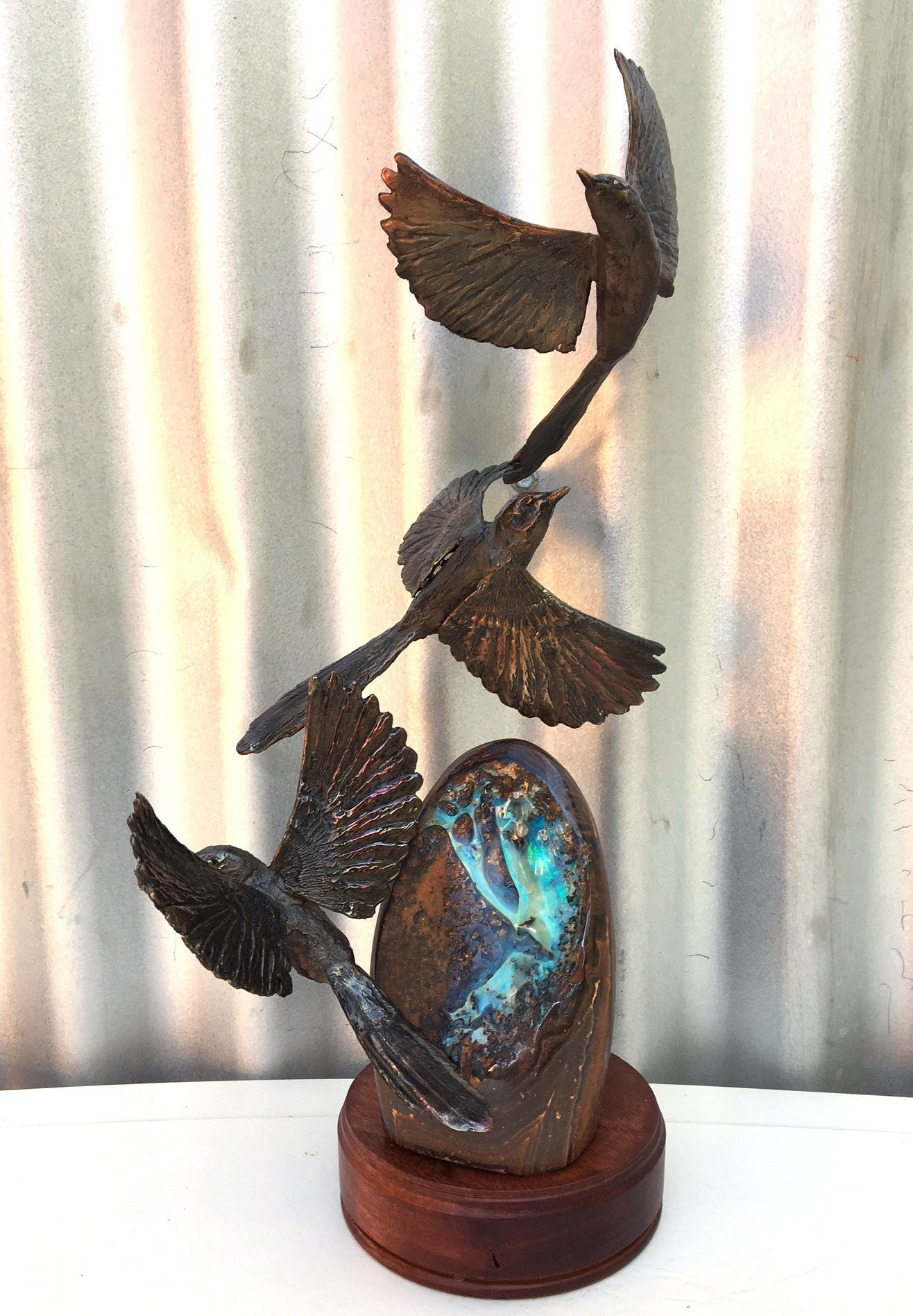 Green / Blue Boulder Opal with Bronze Wrens in Flight