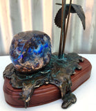 Deep Blue Boulder Opal with Bronze Scarlet Honey Eater in Flight
