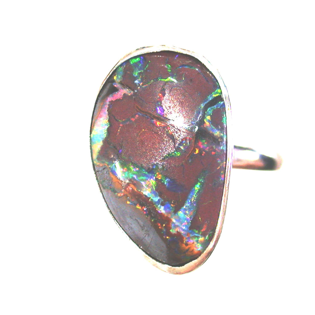 Very bright Koroit matrix opal sterling silver ring