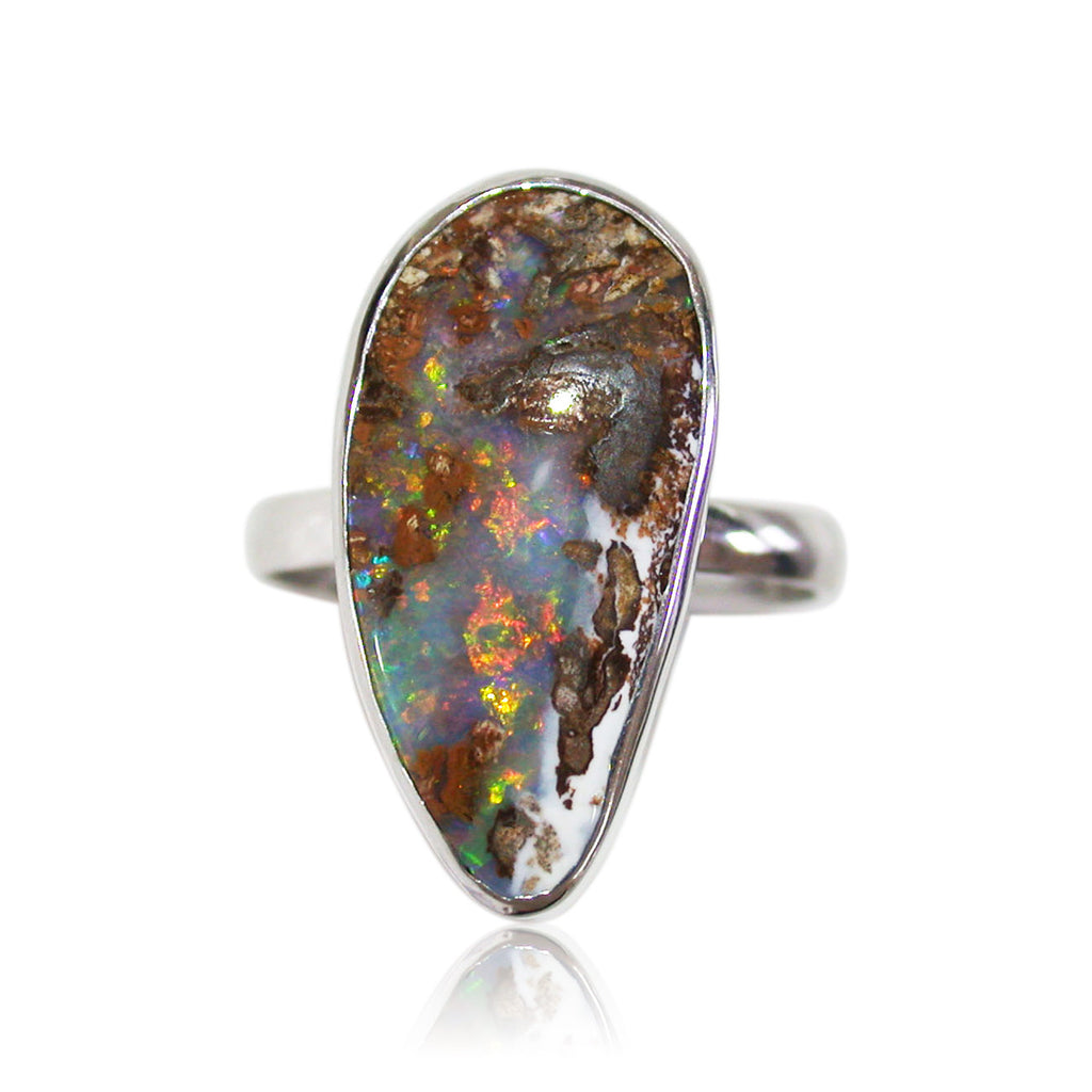 Pink, green multi coloured wood replacement opal sterling silver ring