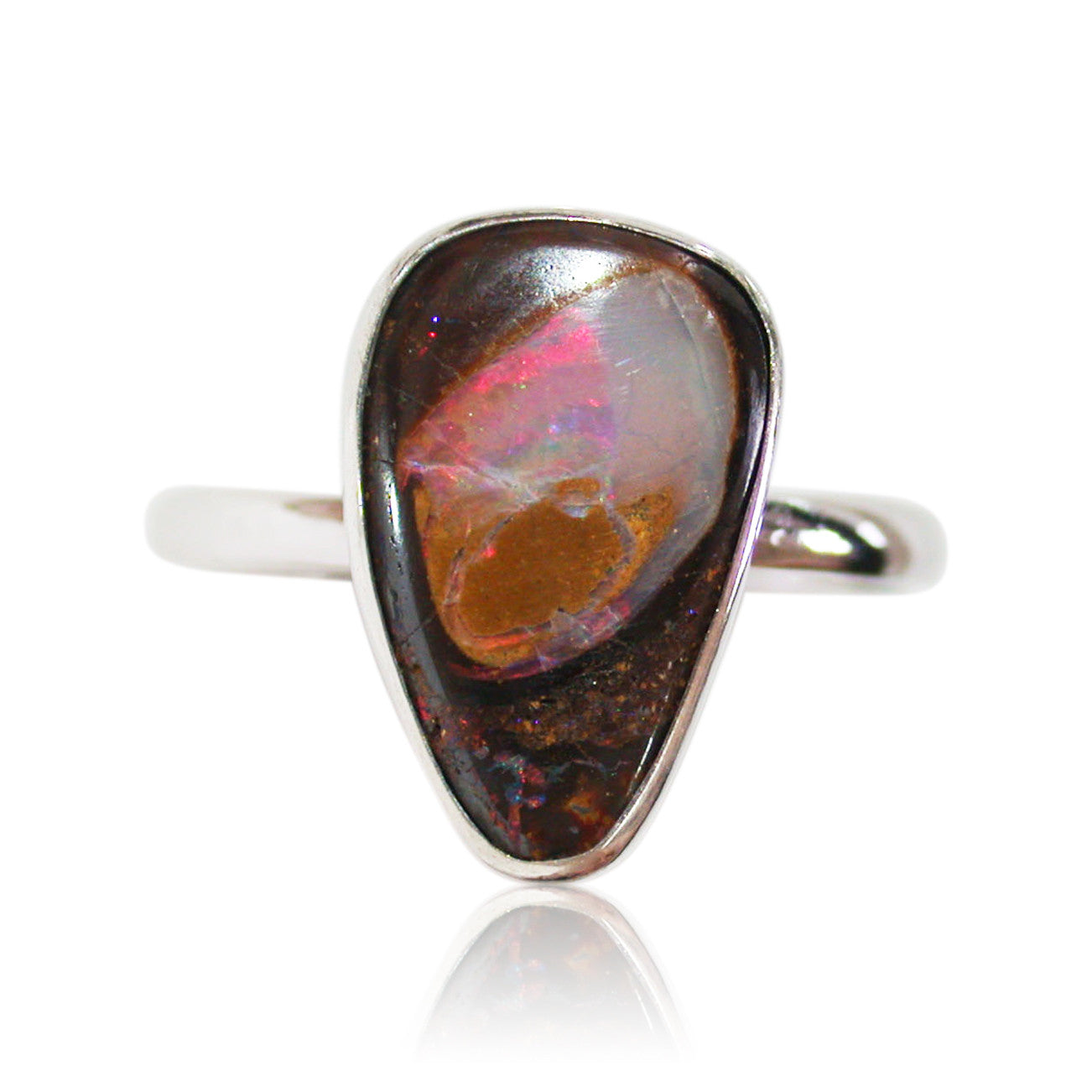 Hot pink rolling flash opal sterling silver ring
