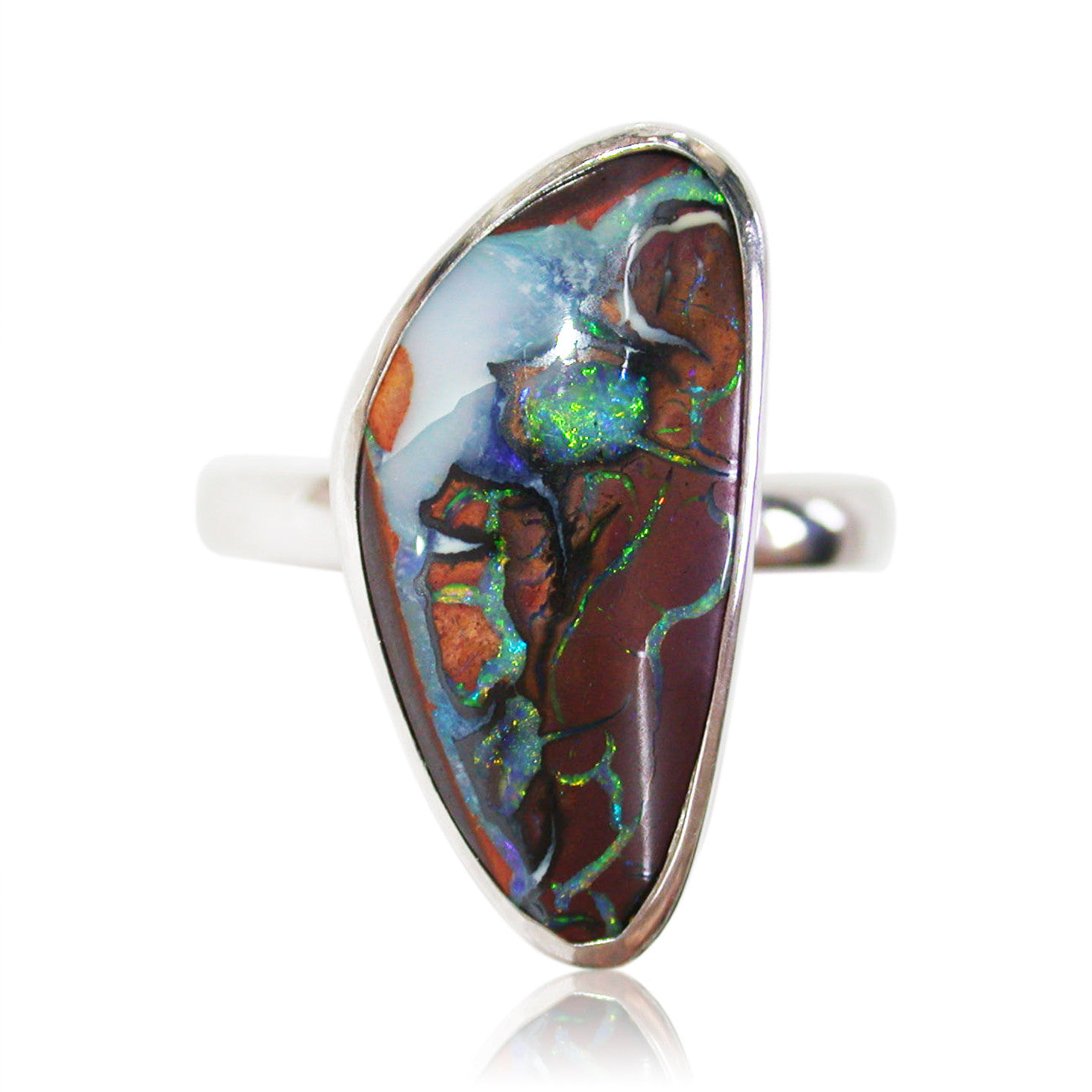 Koroit matrix opal sterling silver ring