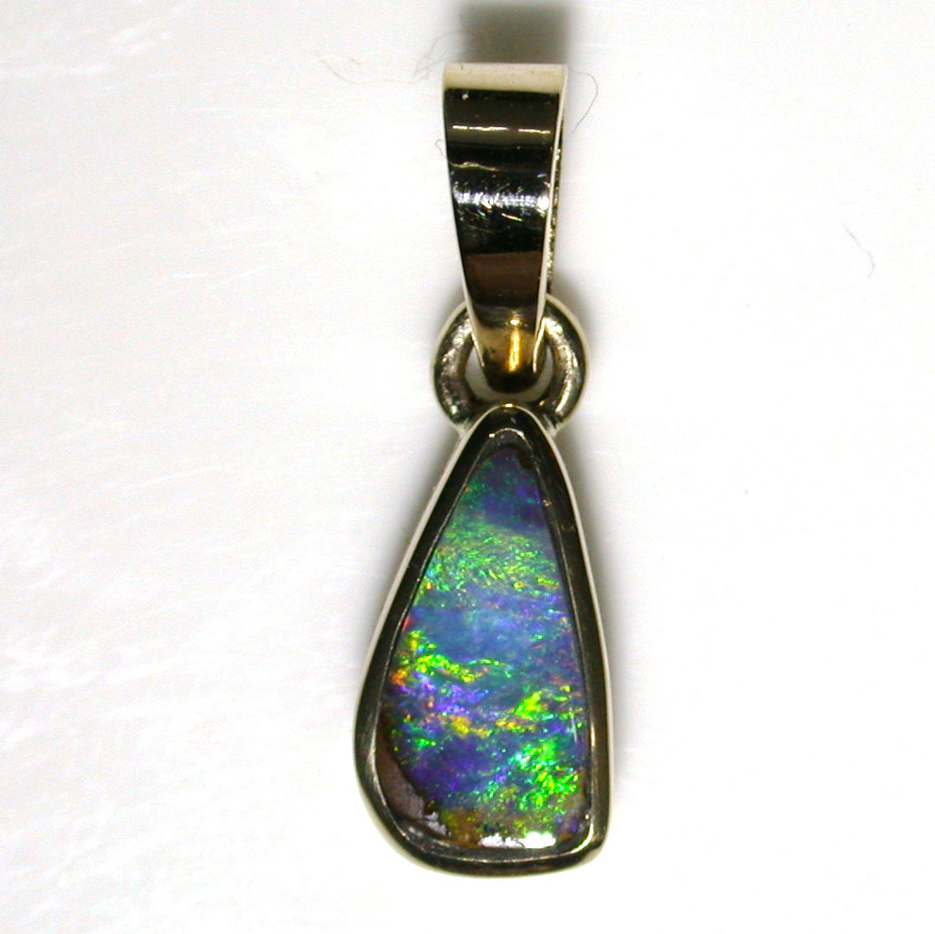 Green,gold multicoloured solid boulder opal Pendant