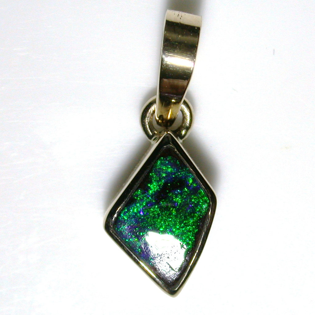 Dark Green solid black boulder opal Pendant