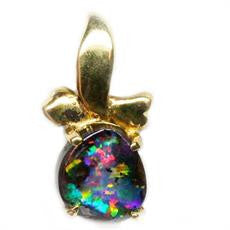 9k Multi Coloured Boulder Opal Pendant
