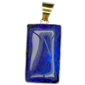 Intence Electric Blue Boulder Opal 18k Pendant