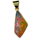 Unusual Pastel Coloured Boulder Opal 18k Pendant