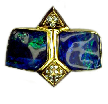 Electric Blue Green Double Stone Opal Pendant