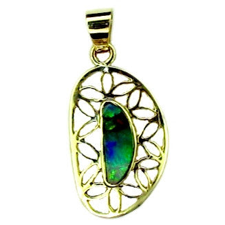 Unusual Green Multi Coloured Opal Pendant