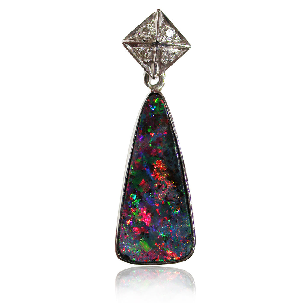 Red Green Boulder Opal and Diamond Pendant