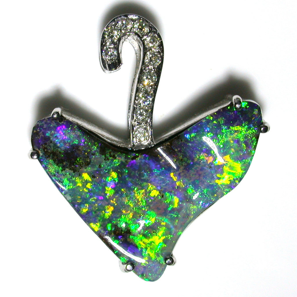 Very Bright Green and Gold solid boulder opal pendant