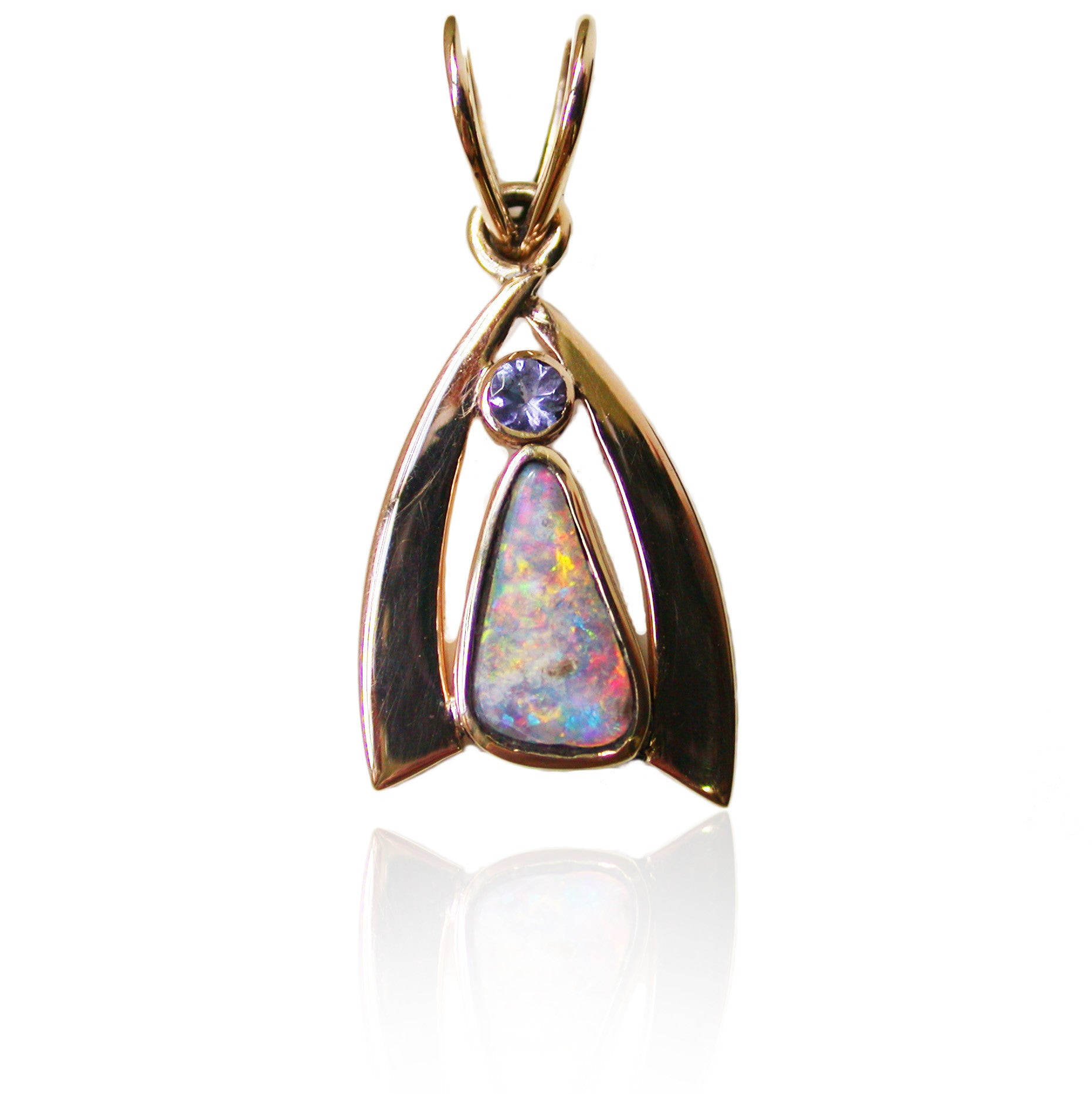 Pink gold multi coloured Opal pendant with Tanzanite