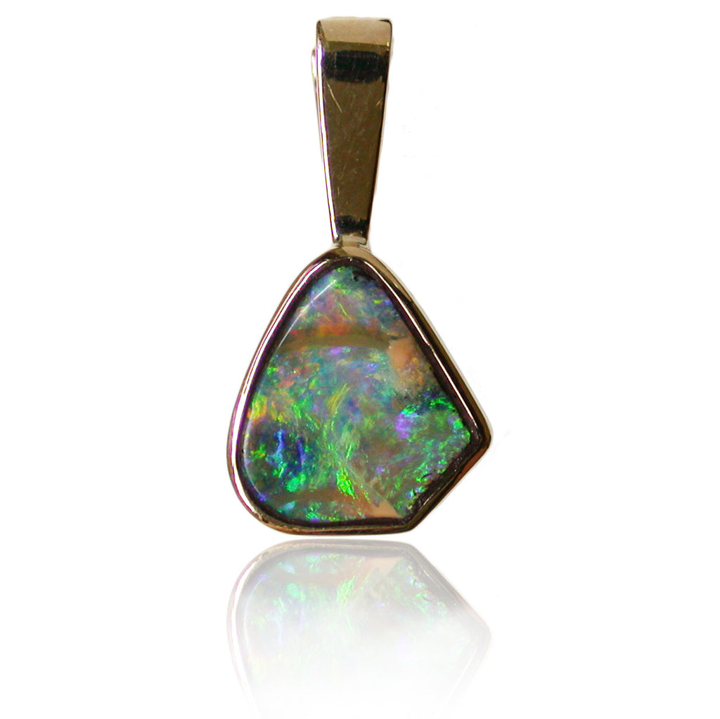 Green Multi Coloured Opal Pendant