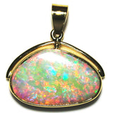 Bright hot pink, green and orange solid boulder opal pendant