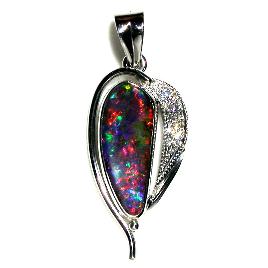 Bright red multi coloured solid boulder opal pendant in 18K white gold