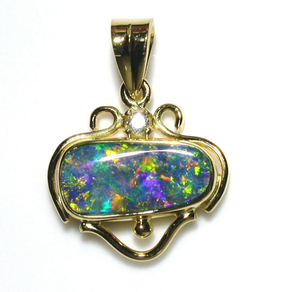 Bright Green multi coloured solid boulder opal pendant
