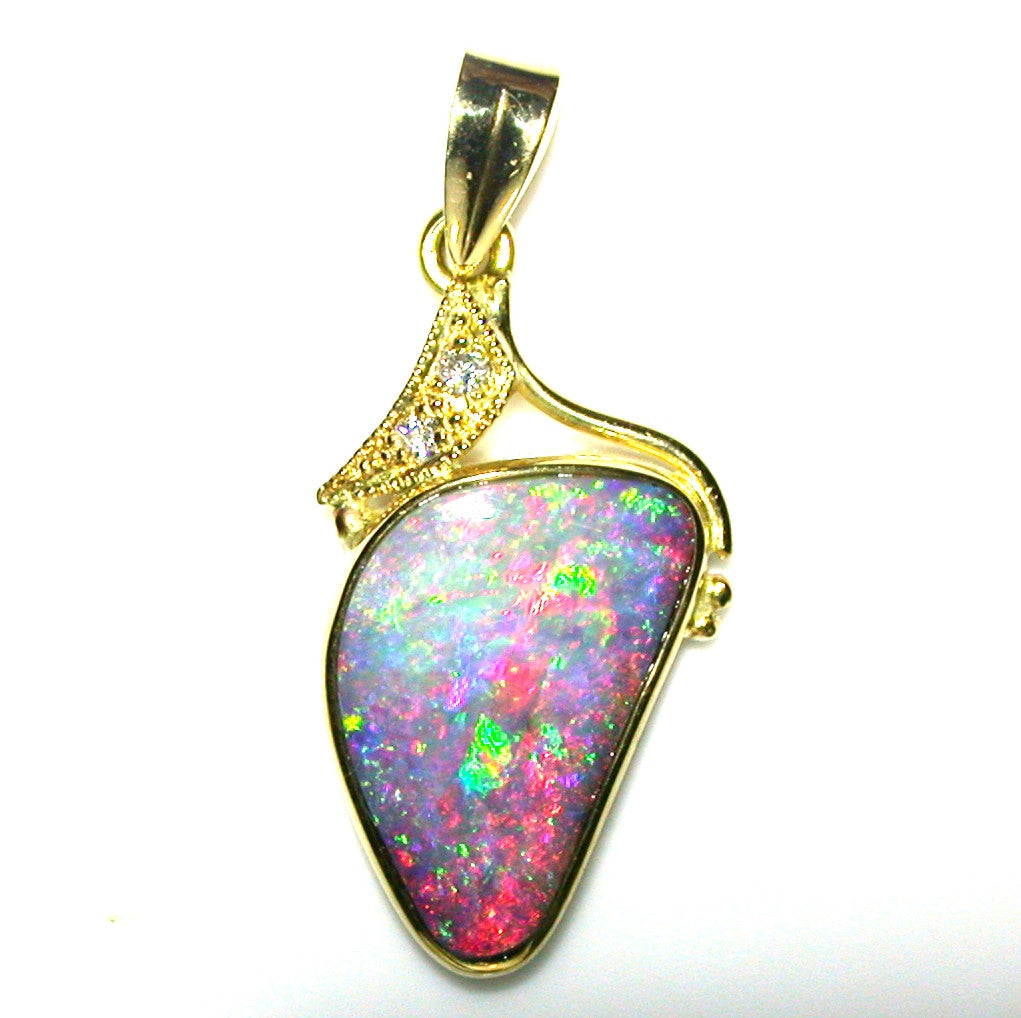 Hot Pink multi coloured solid boulder opal pendant