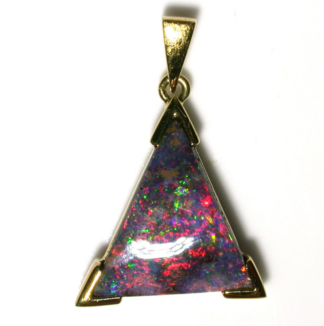 Red multi coloured solid boulder opal pendant
