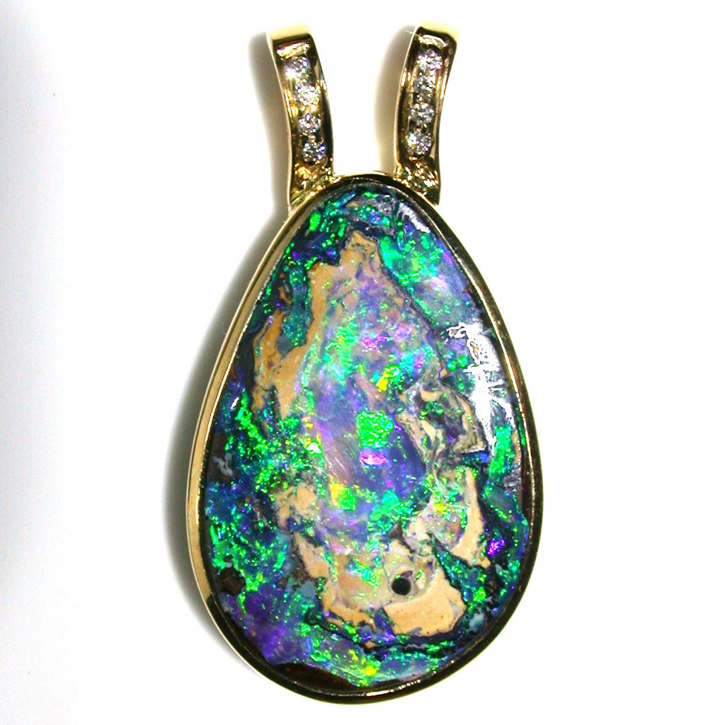 Bright Green Wood Replacement solid boulder opal pendant