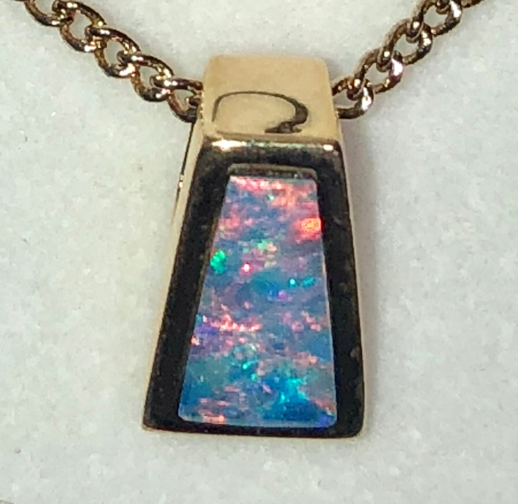 Hot Pink  Multi Coloured  opal inlay pendant