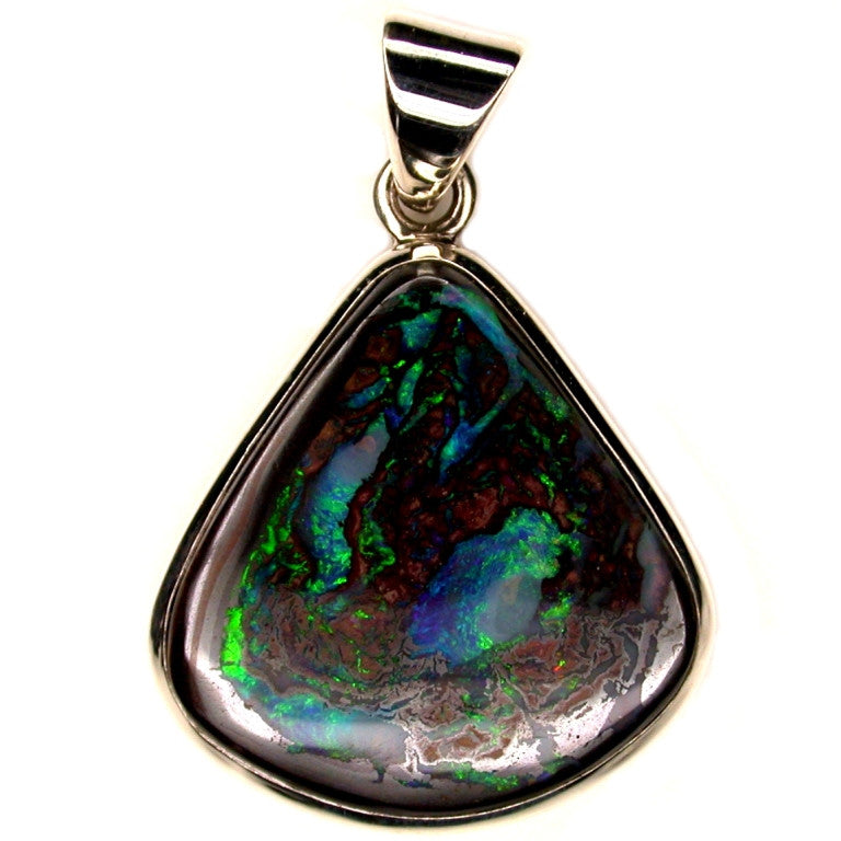 Green Blue Koroit Matrix Opal Pendant