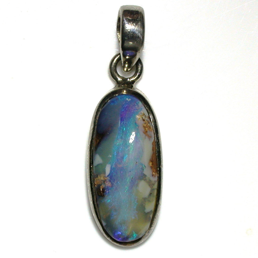Blue and green solid boulder opal pendant