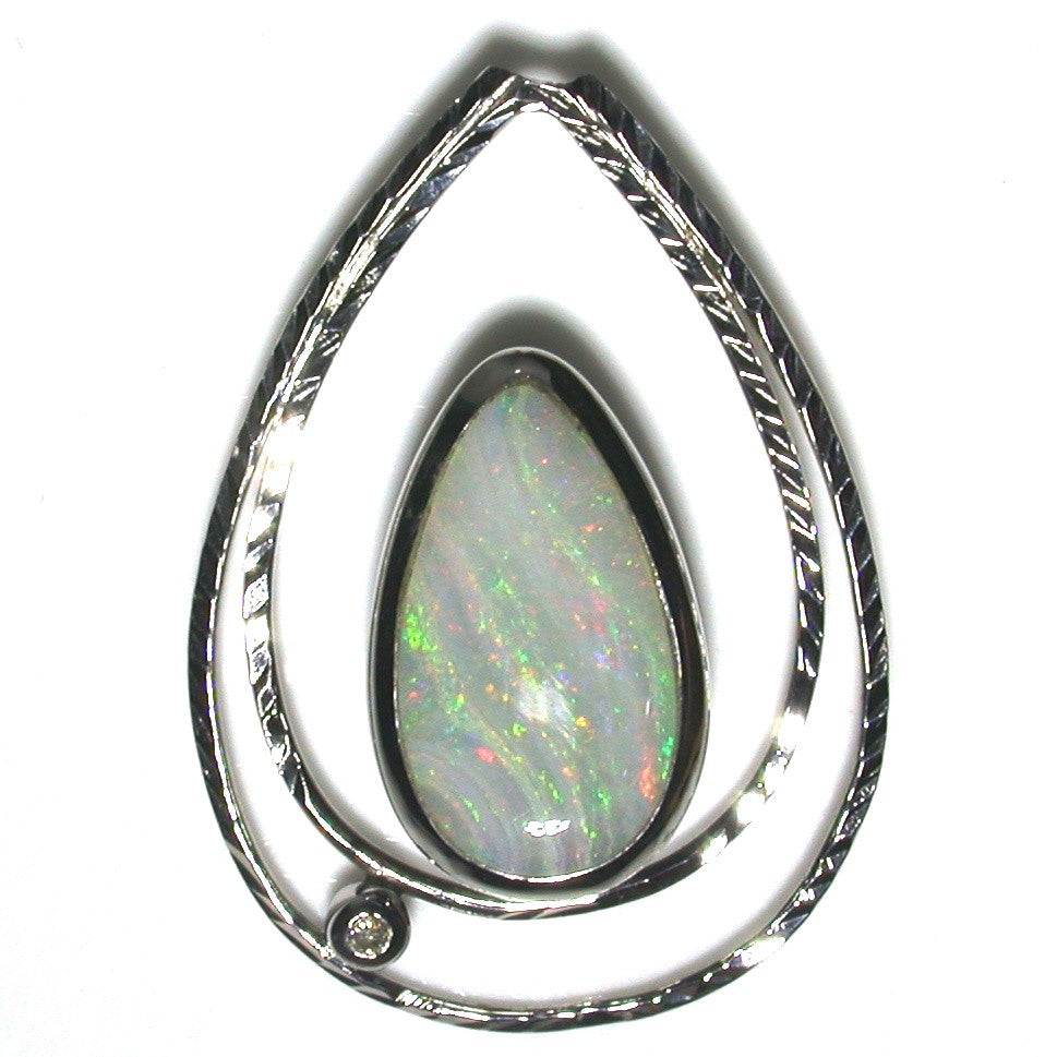 Pink and green strips solid boulder opal pendant