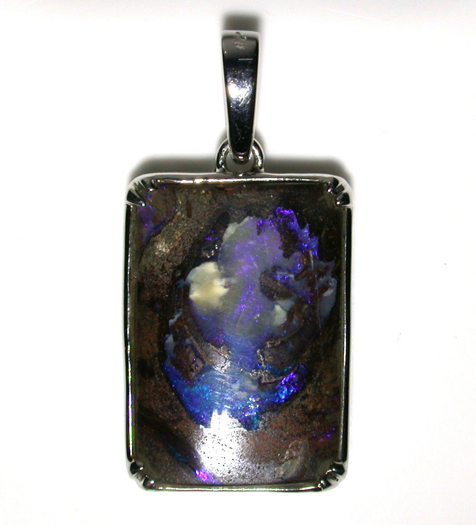 Blue wood replacement solid boulder opal pendant
