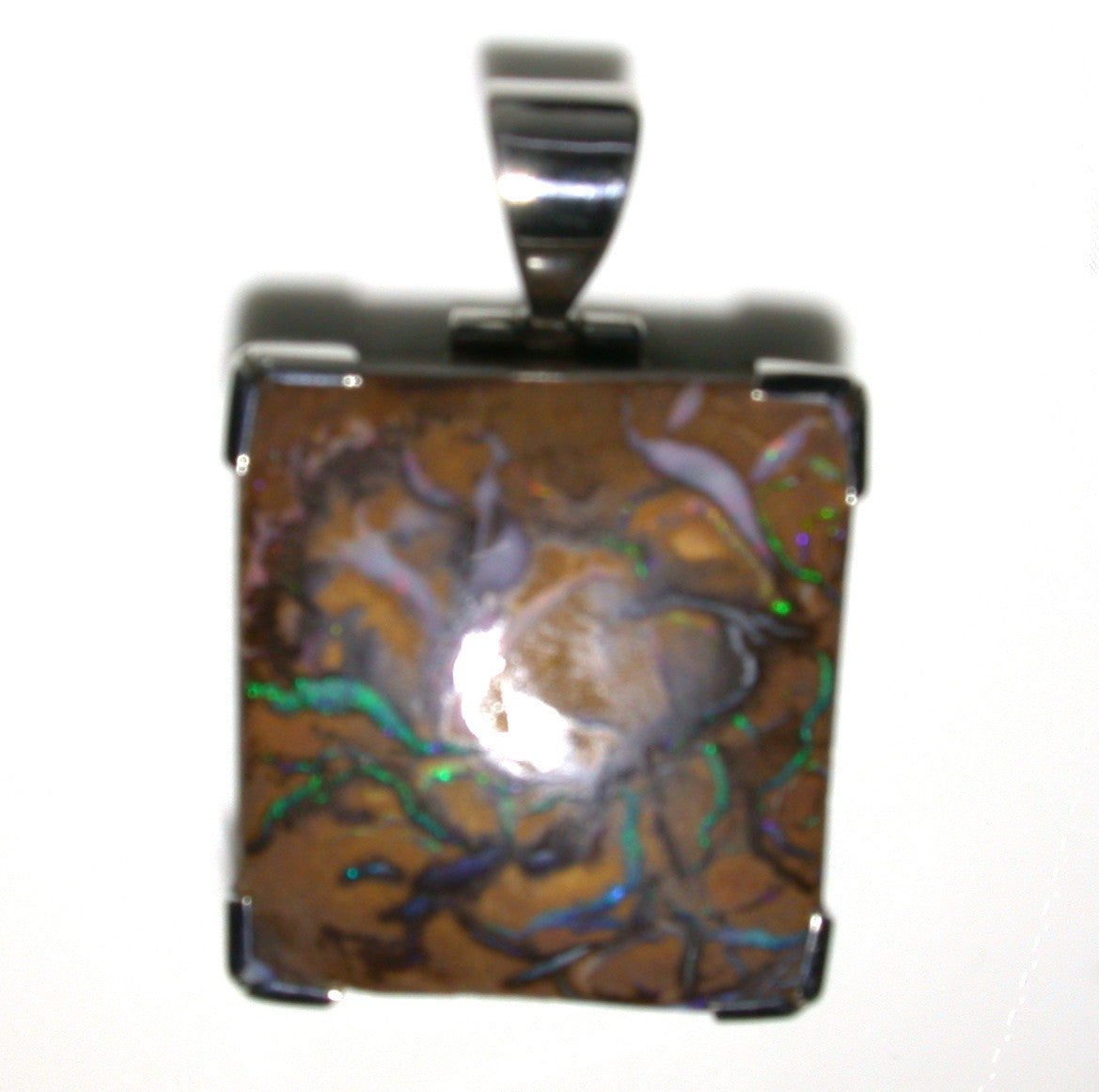 Green solid boulder matrix opal pendant