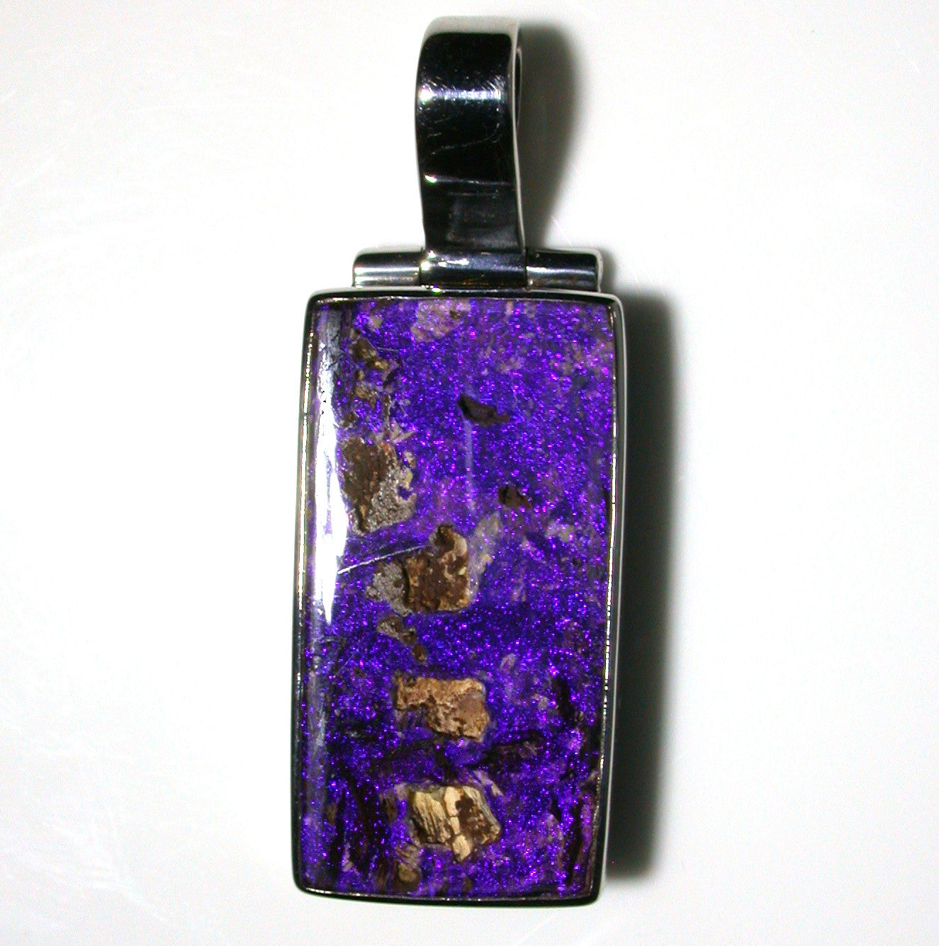 Purple wood replacement solid boulder opal pendant