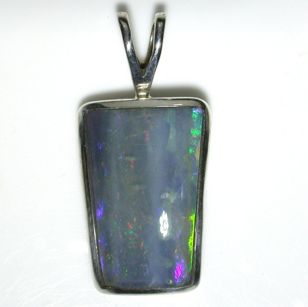 Green multi coloured solid boulder opal pendant