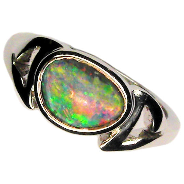 Pink Multi Colour 14k White Gold Opal Ring