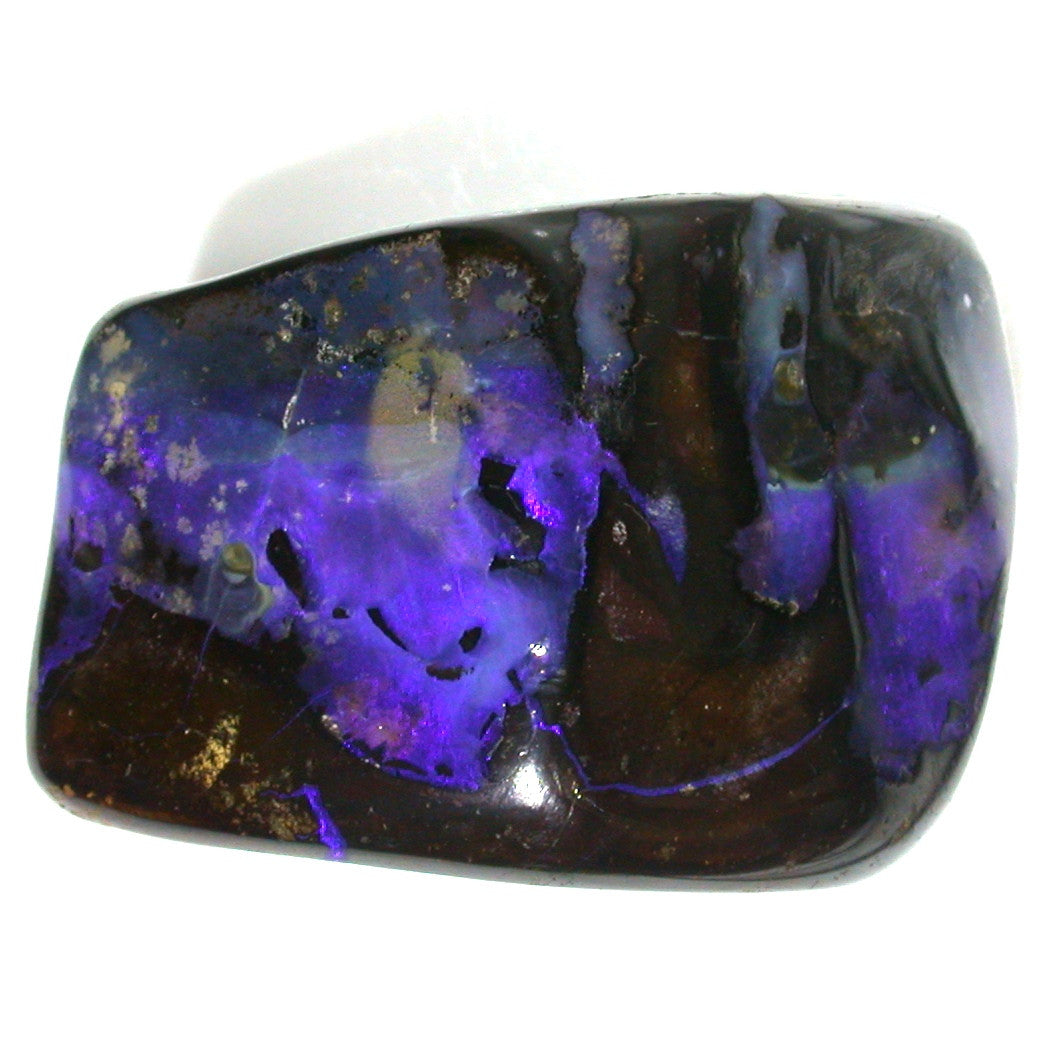 Blue boulder opal polished specimen