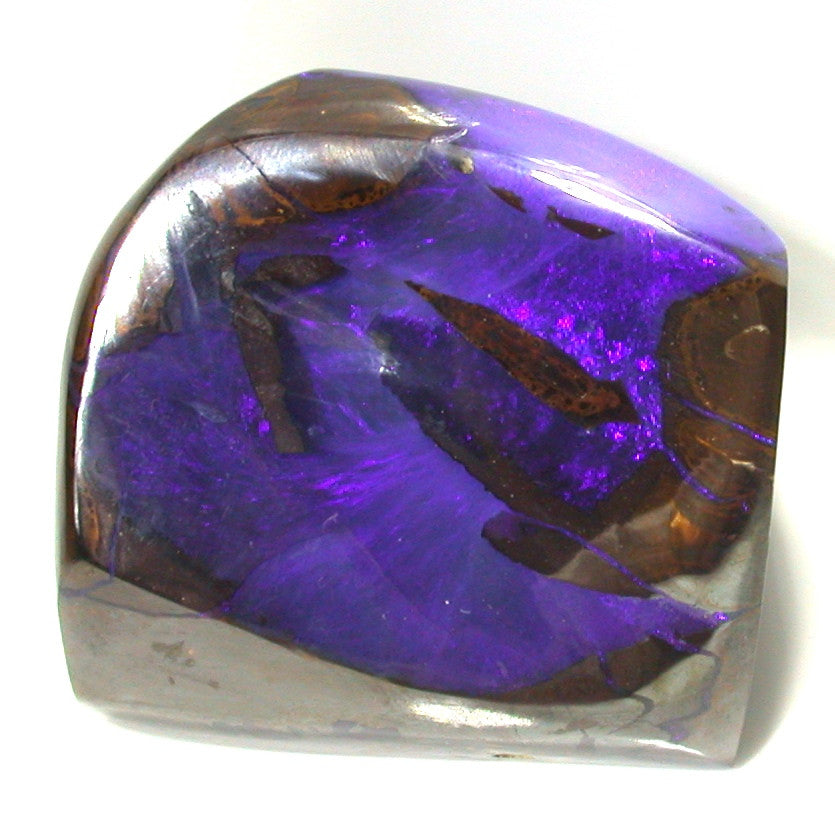 Purple boulder opal polished specimen