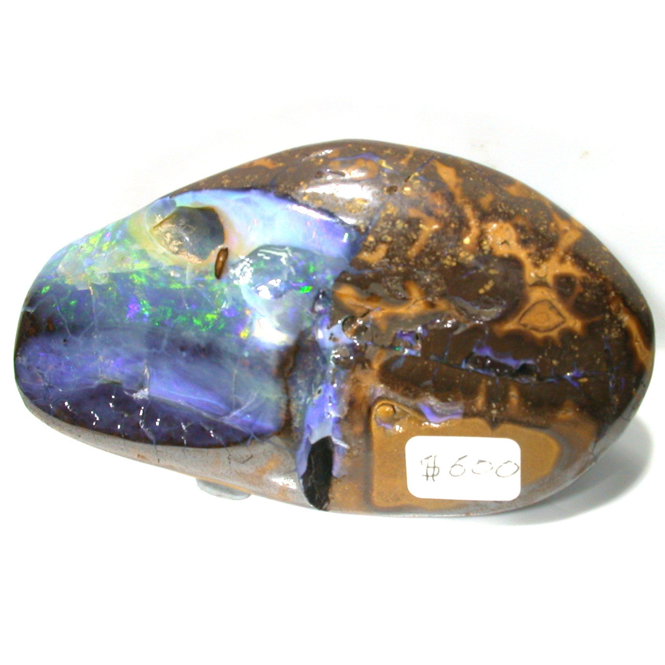 Green multi coloured jelly boulder opal polished specimen