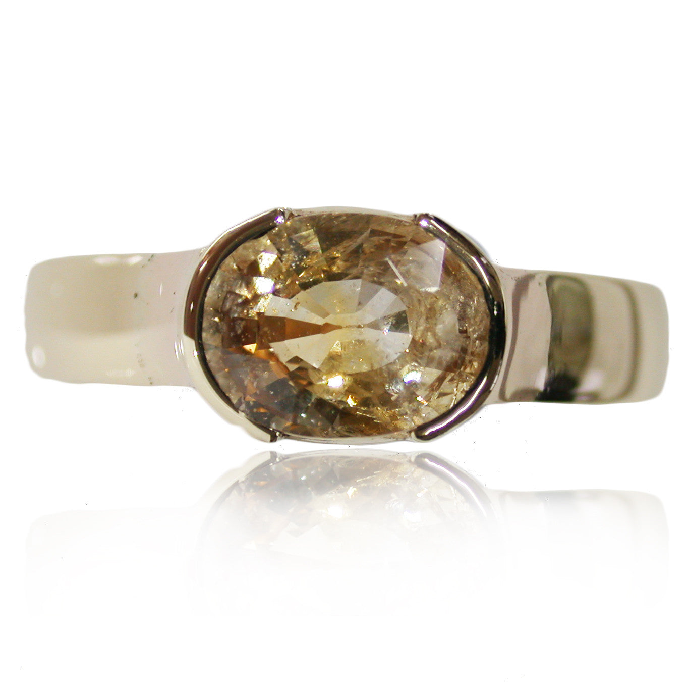Pale Orange Saphire Bezel 9k Gold Ring