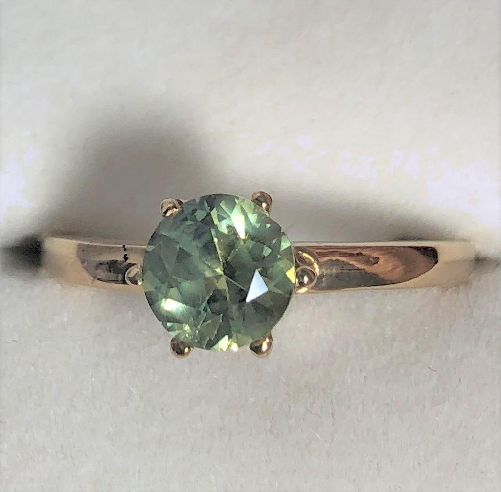 Australian Light Green Sapphire Gold Ring