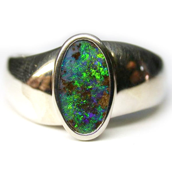 Green Sterling Silver Opal Ring