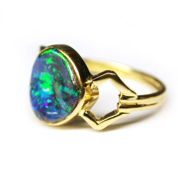 18k Green Blue Opal Ring