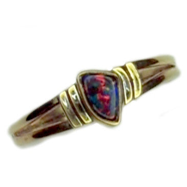 Orange Multi Coloured Boulder Opal 9k Ring