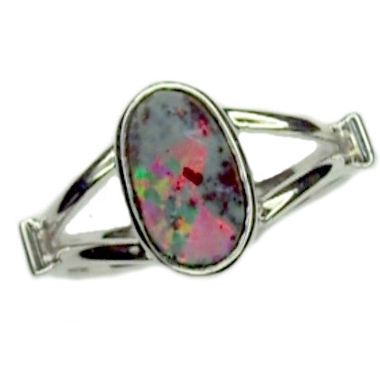 Red Multi Coloured White Gold Opal Ring 14k