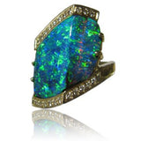 Stunning Green Blue 18k Boulder Opal Ring