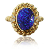 Blue Boulder Opal and Diamond Ring